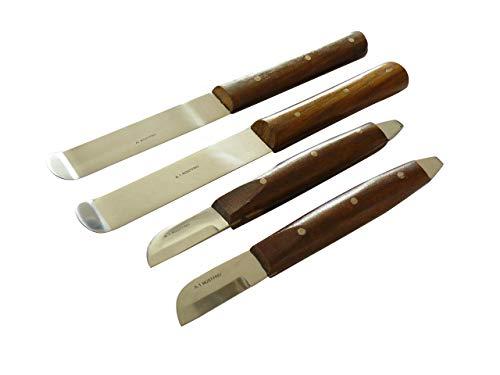 2x Gipsmesser nach Grittmann und 2x Gipsspatel (Set B), Spatel und Messer mit Holzgriff - Kosmetik