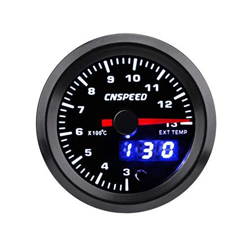"Auto Instrumente 2\""52mm 7 Farben Auto Abgastemperaturanzeige 300-1300 Celsius EGT Meter Analog/Digital Dual Display Manometer für Auto LKW Boot"
