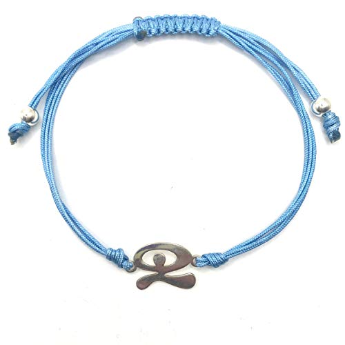 MASBARATA.ES Pulsera INDALO Hilo Azul DE Plata DE Ley 925/1000.