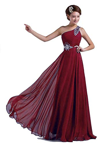 Vantexi Damen Chiffon Langes Party Ballkleid Abendkleid Brautjungfer Kleider Burgund Größe 52