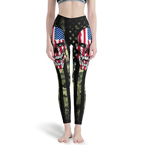 WJunglezhuang vrouwen Compressie Fitness Yoga Legging Amerikaanse Vlag Schedel Premium Gedrukt Yoga Leggings Butt Lift Panty