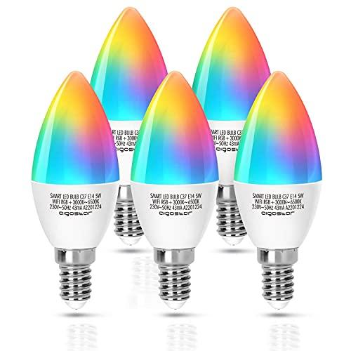 Aigostar Lampadina Smart WiFi E14 Lampadina a Candela 5W Funziona con Alexa e Google Home, RGB Multicolore Dimmerabile e 3000k - 6500k, Nessun Hub Richiesto, 2.4Ghz, 5 Pcs