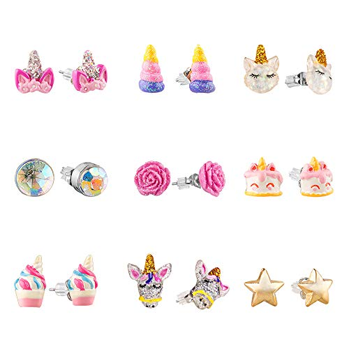 SkyWiseWin Hypoallergenic Earrings Set for Little Girls, Children's Colorful Cute Earrings for Kids