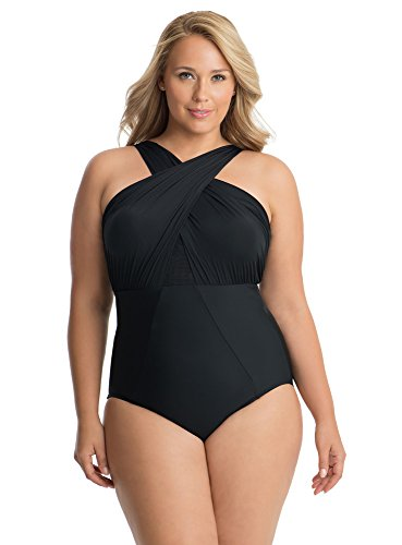 Miraclesuit Women's Plus Size Swimwear Solid Embrace High Neckline Underwire Bra One Piece Swimsuit, Black, 18 Plus