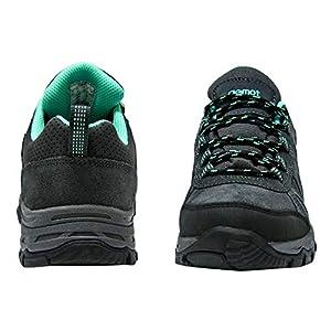 riemot Women's Hiking Shoes Waterproof Lightweight Walking Trekking Camping Shoes Breathable Non-Slip Outdoor Trail Running Sneakers Grey Green US 9/EU 40