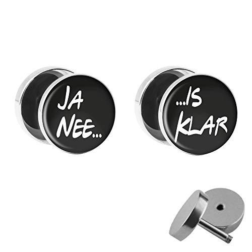 Treuheld® | Ja nee - is Klar | Fake Plugs im Set | Lustige Spruch Ohrstecker mit Gewinde zum Schrauben | 10mm | Witzige Chirurgenstahl Ohrringe