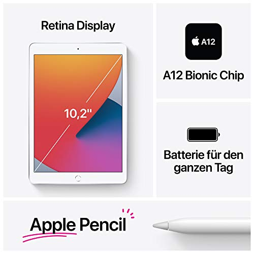 2020 Apple iPad (10,2, Wi-Fi + Cellular, 32GB) - Silber (8. Generation)