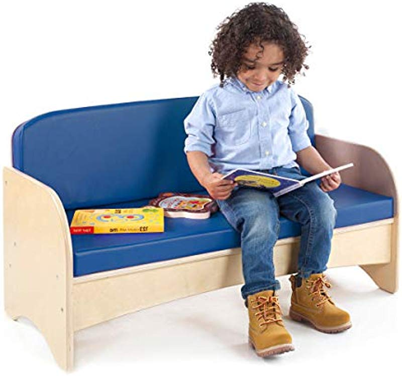 Guidecraft Children S Wooden Reading Couch With Blue Cushion Durable Classroom Playroom Furniture