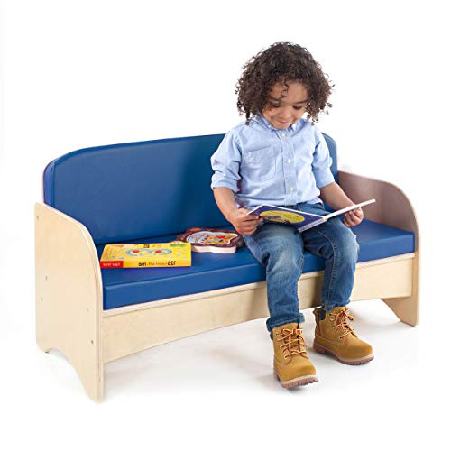 Guidecraft Children's Wooden Reading Couch with Blue Cushion – Durable Classroom Playroom Furniture