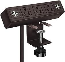3 AC Outlet Desk Clamp Power Strip, Desk Mount USB Charging Power Station, Removable Desktop Edge Power Center Plugs Output 125V/60HZ/12A/1500W, USB 5V/4A 6.56FT Cable (Brown)