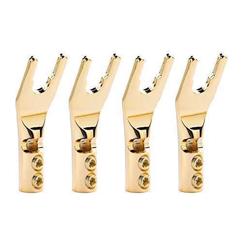 Gold Plated Y Spade Plug,Speaker Spade Connectors,45 Degree Fork Spade Connector for Speaker Wire DIY Screw Locking Speaker Wire Connector(4pcs)