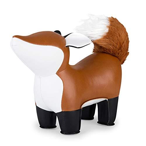 Züny - boekensteun - Fox Furi - bruin/wit - kunstvezels, ijzerpellets - 27 × 10 × 20 cm - 1 kg