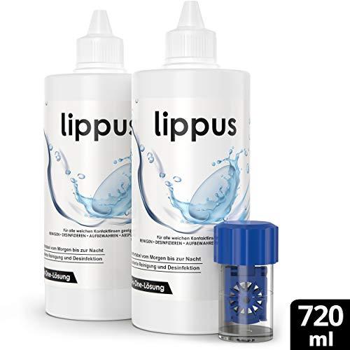 PREMIUM All-In-One Kontaktlinsen Fluessigkeit – Made in Germany – Mit Kontaktlinsen Behälter - Geeignet für weiche Linsen, sowie Wochen- und Monatslinsen - Reinigt & desinfiziert