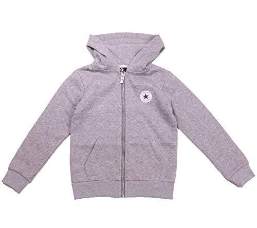 Converse Full-Zip Hoodie begehrter Sweat-Jacke Kinder Kapuzen-Pullover Pulli Sweater Grau, Größe:104/110