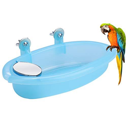 2021 Neu Vogel Bade Box, süße Badewanne mit Spiegelkäfig Spielzeug Zubehör blau für Haustier Papageien