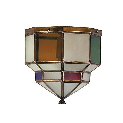 Plafón Granadino Artesanal Modelo Cartuja 7032/2EVOC (Envejecido- Cristal Opal y Color)