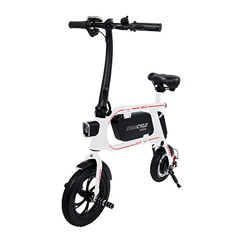 Swagtron 200W SWAGCYCLE Envy Steel Frame Folding Electric Bicycle e Bike w/Automatic Headlight – Reach 10 mph; 264 lbs Max Load - White