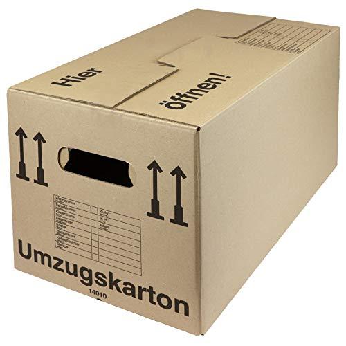 25 Umzugskartons, 600 x 328 x 340 mm, 40 kg Tragkraft, Umzug Kisten Karton, stabil doppelwellig, Umzugskisten mit Doppelboden - 25 Stück
