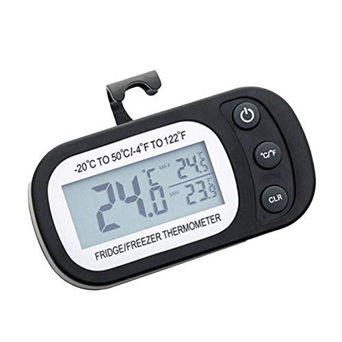 Gcroet Digital Kitchen Nevera Termómetro Termómetro del refrigerador a Prueba de Agua Alarma congelador con Gancho de la exhibición Grande del LCD para el hogar (Negro)