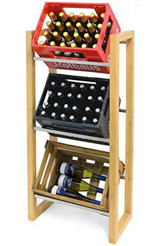 MANUMA® James Getränkekistenregal aus Holz - Design Getränkeregal für 3 Getränke Kisten - Kistenregal um Getränkekisten griffbereit zu lagern - Getränkekistenhalter (Bambus)