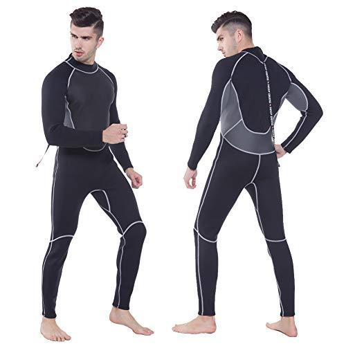 YRX Traje de neopreno de 3 mm de una pieza y cierre de cuerpo de buceo para hombres, buceo, surf, esnórquel, talla grande, negro, M