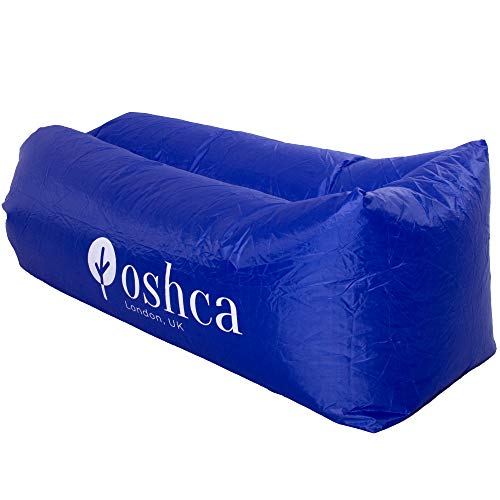 Oshca UK Inflatable Lounger Air Sofa, Waterproof, anti-Air Leaking Design, Hammock Portable Ideal Couch for Backyard, Camping, Beach Parties, Traveling, Picnics, Pool (Dark Blue)