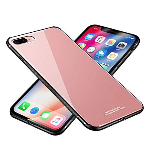 Chengming Compatible with iPhone XR Tempered Glass Case,Tempered Glass Back Cover + TPU Frame Hybrid Case Slim Case Anti-Scratch Anti-Drop (Rose Gold, iPhone XR)