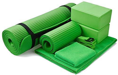 "BalanceFrom GoYoga 7-Piece Set - Include Yoga Mat with Carrying Strap, 2 Yoga Blocks, Yoga Mat Towel, Yoga Hand Towel, Yoga Strap and Yoga Knee Pad (Green, 1/2""-Thick Mat)"
