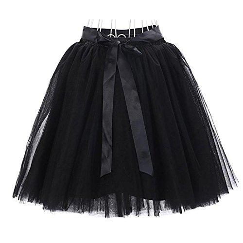 Damen 7 Schichten Knielang Tüllrock Tutu Tüll Kleid Rock Reifrock Abendrock Schwarz