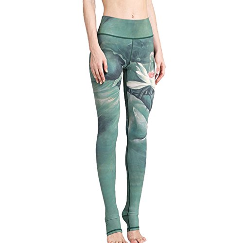 LINNUO Mujer Impresión Yoga Pantalones Moda Fitness Correr Deportiva Malla Polainas Estribos Pantalones Verde L