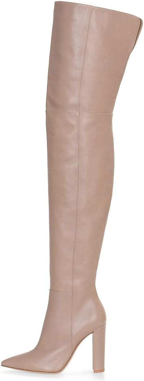 HNStiefel Damen Damen Knie Oberschenkel Hoch Stiefel Nackt Farbe Mode Block Hoch Hacke Leder Stiefel Schuhe  Jetzt einkaufen