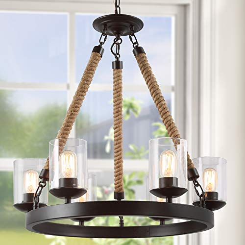 LNC A02992 Vintage 6 Chandeliers Rustic Pendant Lighting, Brown