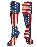 Calcetines de compresión creativos de la bandera americana para hombres y mujeres, el mejor atlético y médico graduado para hombres y mujeres, correr, vuelo, viajes