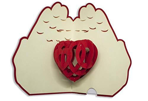 Tarjeta de felicitación de Origami Sorprise, corazón
