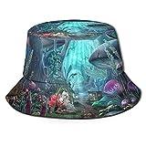 Stylish Home Sombrero unisex reversible plegable para hombre y mujer, sombrero de cuento de hadas mundial de setas de playa, pescador de doble cara reversible