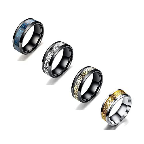 4 piezas de titanio, acero inoxidable, anillos de boda para hombres, anillos de compromiso de oro para mujeres, joyería de boda, fiesta nupcial [8 mm de ancho] [tamaño 6 a 13]-A_8