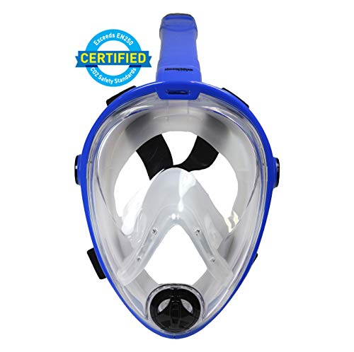 Deep Blue Gear - Vista Vue Full Face Snorkeling Mask, Blue/Clear Silicone, Large/X-Large