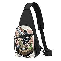 ワンショルダーバッグ メンズ 斜めがけ胸バッグ ボディー肩掛けバッグ 小型手提げバッグ 出張 通勤 通学用 寿司 ご飯 魚