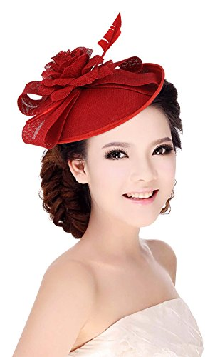La Vogue Femme Chapeau Cérémonie Barrette Voilette Mariage Cheveux Mariées Fête Rouge