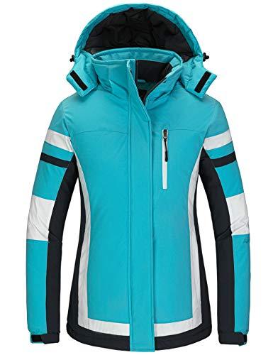 Wantdo Women's Warm Winter Jacket Waterproof Ski Coat Hooded Snowboarding Jacket Blue M