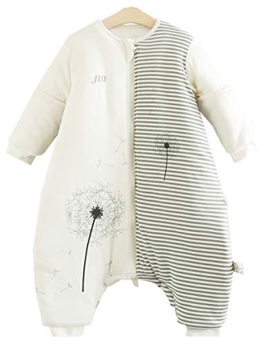 Chilsuessy Baby Ganzjahres Kinderschlafsack mit Füssen 2.5 Tog,Kleinkind Winter Schlafsack mit abnehmbar Ärmel (80/Baby Höhe 85-95cm, Löwenzahn)