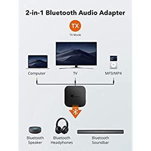 Bluetooth 5.0 Transmitter/Receiver, Wireless 3.5mm Audio Adapter (aptX Low Latency, Pair 2 at Once, for TV/Car Sound System, Volume Control)