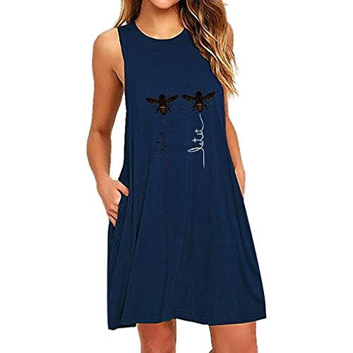 ROVNKD Sommerkleid Damen Kleid Sleeveless ärmellos Kleidung Frauen Biene Longshirt Tank Tops Druck A-line(Marine,XL)