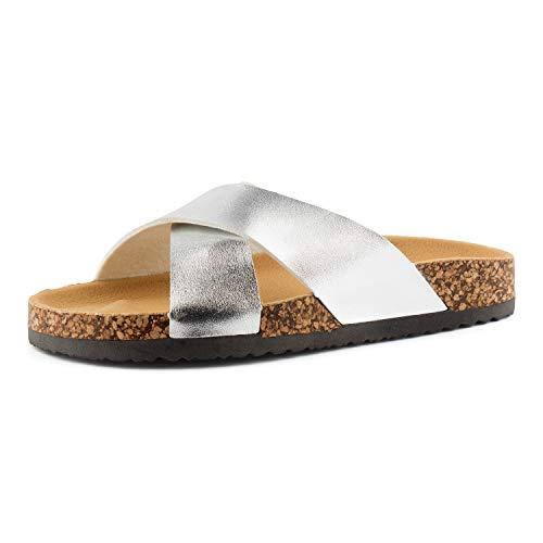 Fusskleidung Damen Pantoletten Metallic Schlappen Glitzer Komfort Sandaletten Sandalen Zehentrenner Silber Silber EU 38