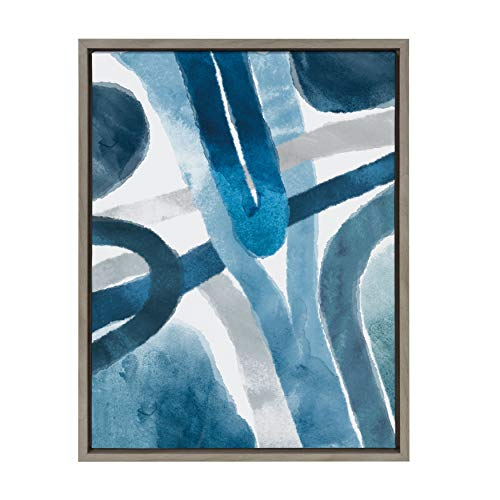Kate and Laurel Sylvie Abstract Blue and Gray Watercolor Framed Canvas Wall Art, 18x24 Gray