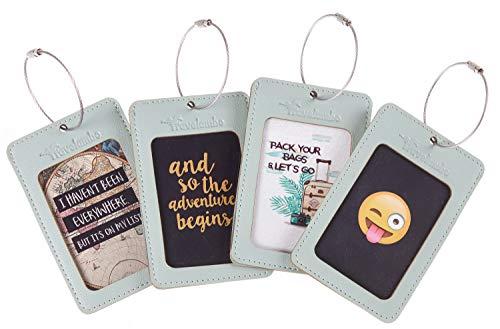 Travelambo Leather Luggage Tag Suitcase Bag Travel Tags (Light Green 4 pcs Set)