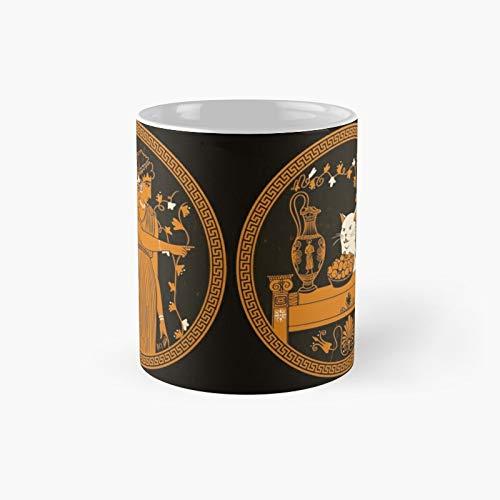 Taza clásica de meme de gato griego antiguo | Mejor regalo divertido tazas de café 11 oz
