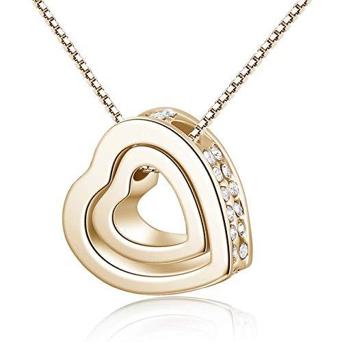 Gargantilla de plata con colgante de corazón con circonita cúbica Aaa para boda, bijoux, oro