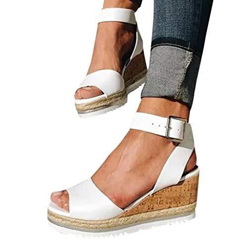 Eduavar Cute Sandals for Women Summer Clearance Women's Platform Sandals Espadrille Wedge Ankle Strap Studded Open Toe Sandals