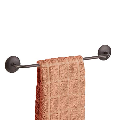 mDesign Decorative Metal Large Towel Bar - Strong Self Adhesive - Storage and Display Rack for Hand, Dish, and Tea Towels - Stick to Wall, Cabinet, Door, Mirror in Kitchen, Bathroom - Bronze